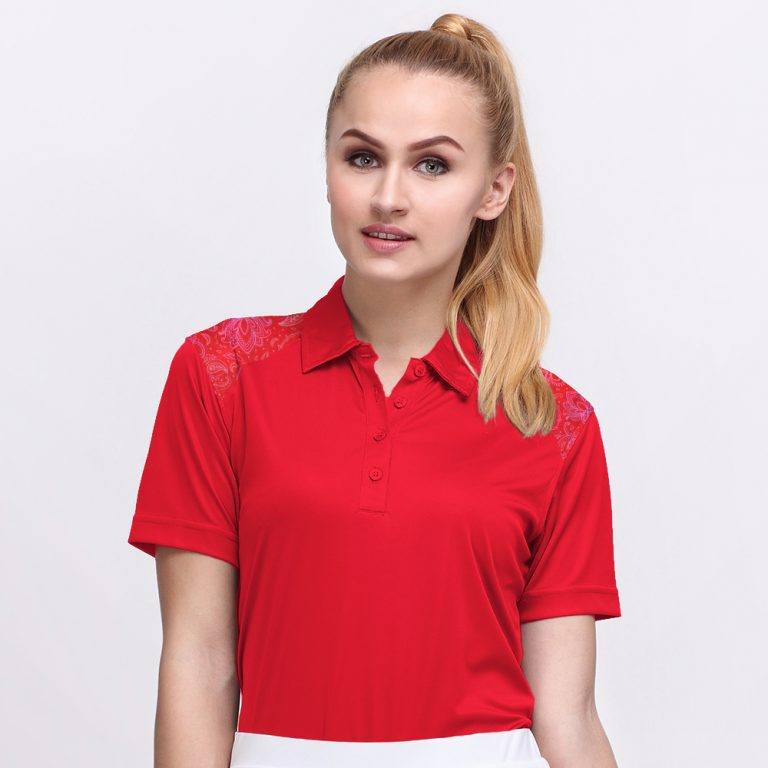 BATIK BOTANICAL POLO FLAG RED (WOMEN) 1