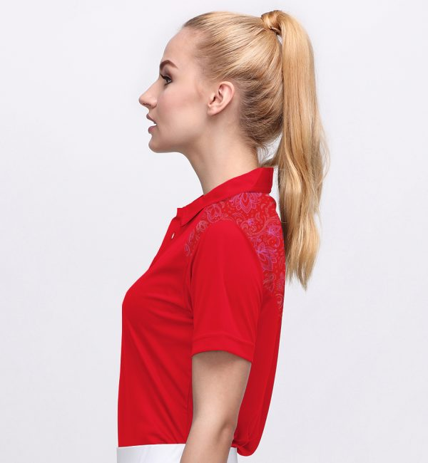 BATIK BOTANICAL POLO FLAG RED (WOMEN) 2