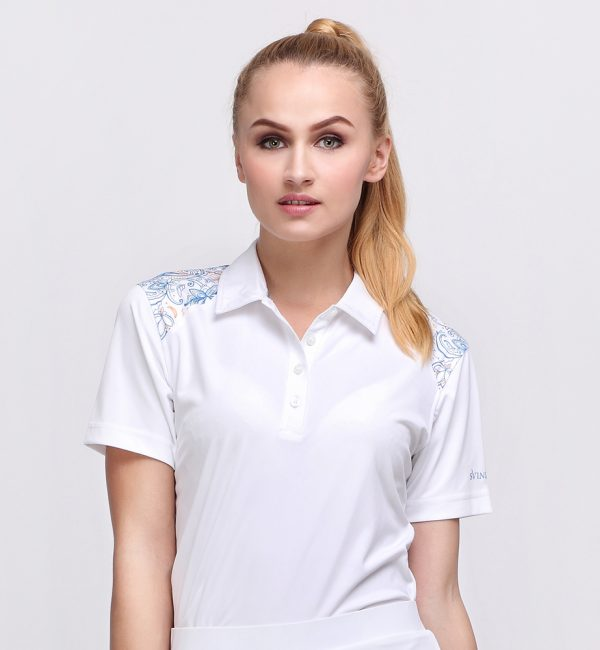 BATIK BOTANICAL POLO WHITE (WOMEN) 1