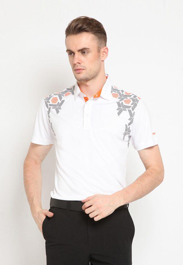 Dotted batik polo (White)